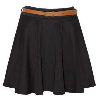 View Item Black Belted Jersey Skater Skirt